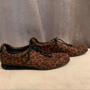 Leopard animal print trainers/sneakers lace-up